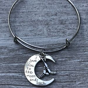 Hockey Love You to the Moon and Back  Bracelet
